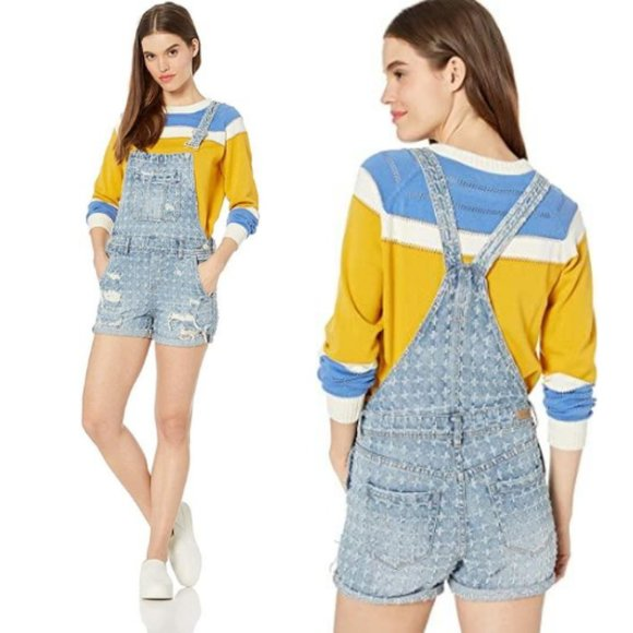 Blank NYC Distressed Punch Hole Jean Shortalls 28
